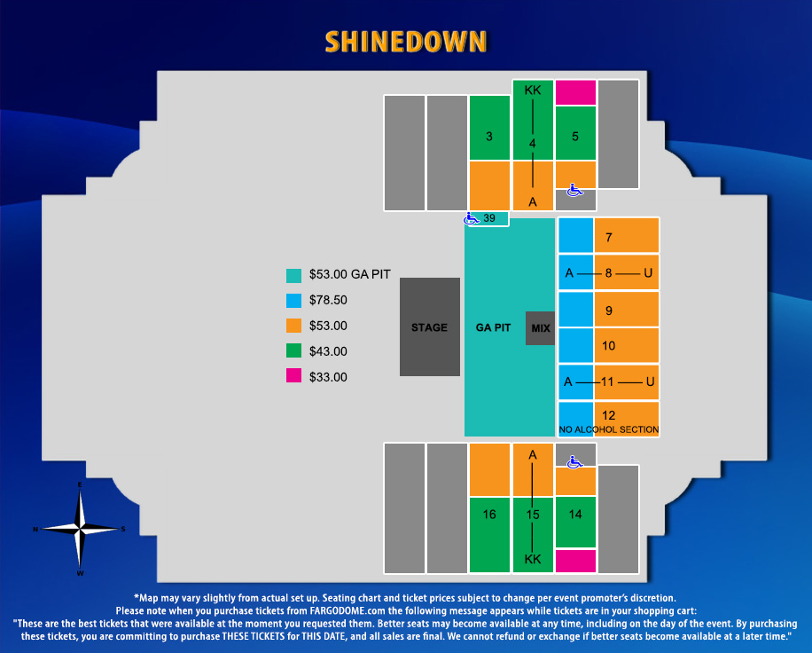 Fargodome Seating Map Event Information | FargoDome