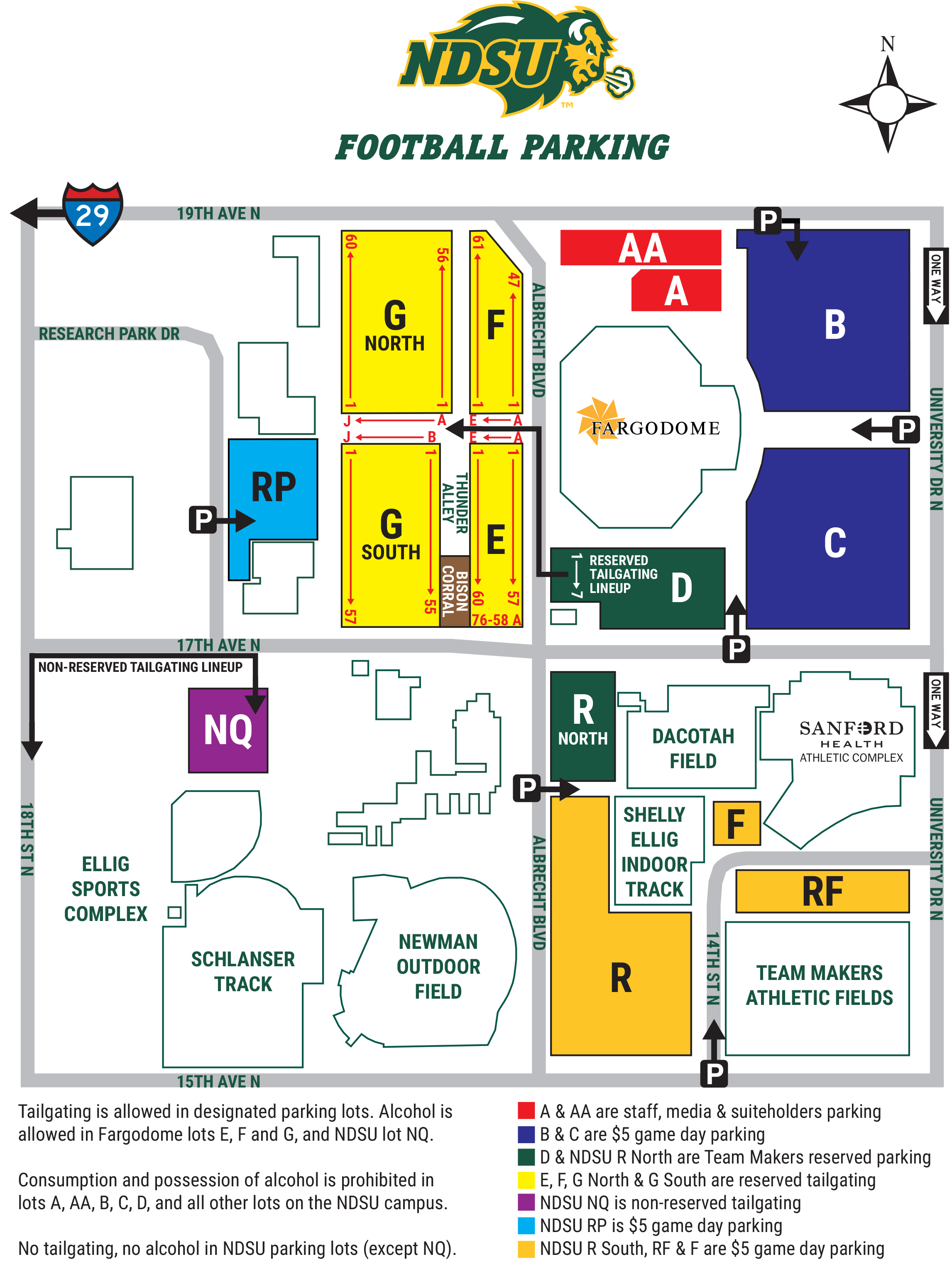 NDSU Football Parking Map